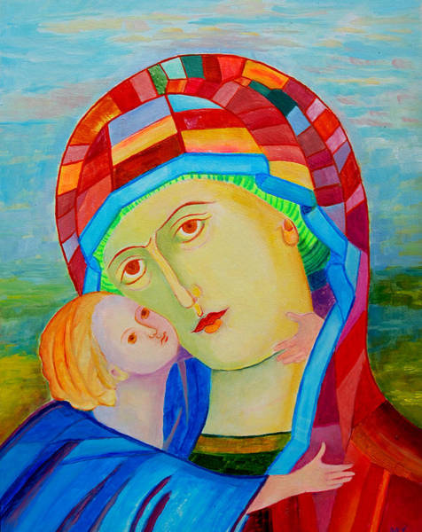 Pray For Love Wall Art - Painting - Our Lady Of Perpetual Help. Our Lady Of Perpetual Succor. Mother Mary. Blessed Mother. Icon Eleusa by Magdalena Walulik