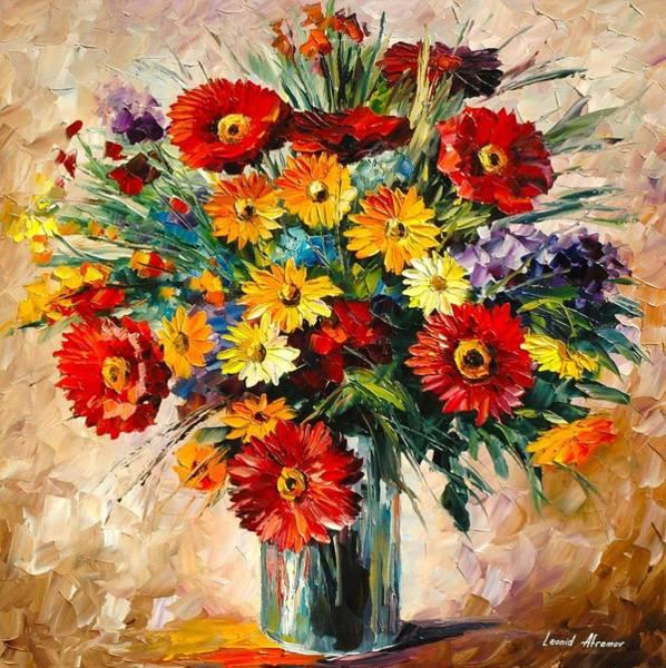 Magic Realism Painting - Magic Flowers by Leonid Afremov