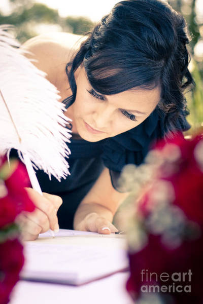 Honour Wall Art - Photograph - Maid Of Honour Signing Wedding Registar by Jorgo Photography - Wall Art Gallery