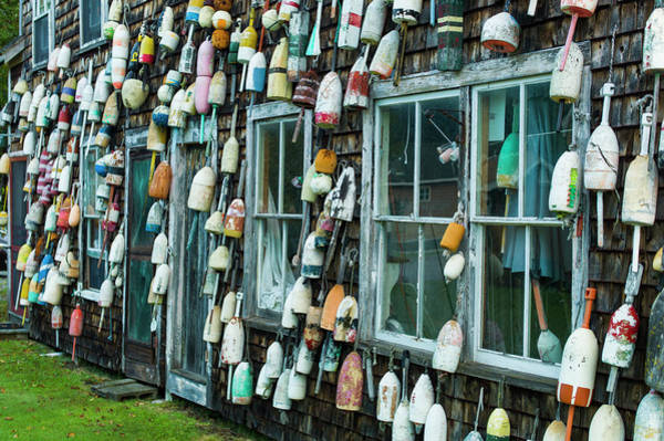Lobster Photograph - Maine, Pemaquid Point, Lobster Buoys by Walter Bibikow