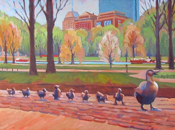 Massachusetts Wall Art - Painting - Make Way For Ducklings by Dianne Panarelli Miller
