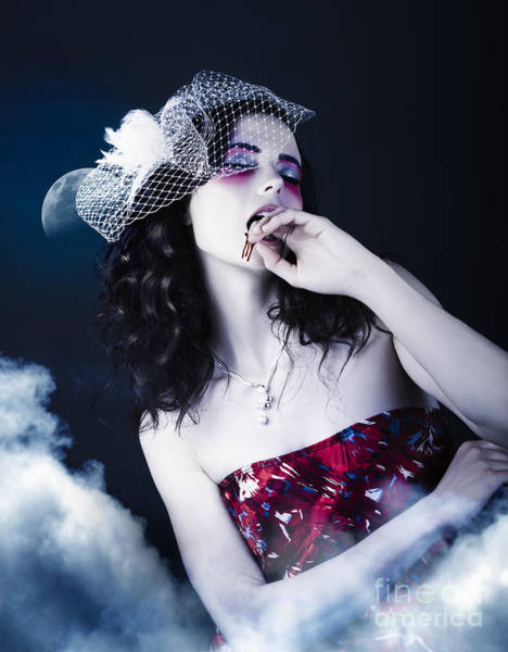 Makeup Beauty With Gothic Hair And Bloody Mouth Art Print