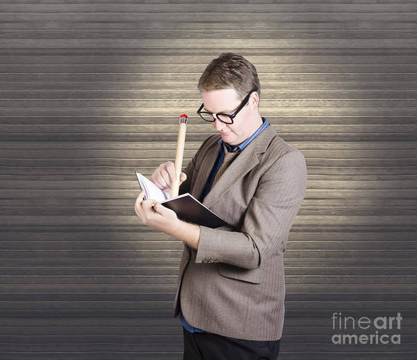 Wall Art - Photograph - Male Administration Clerk Writing Diary Notes by Jorgo Photography - Wall Art Gallery