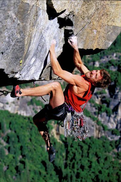 Wall Art - Photograph - Male Climber On An Overhang High by Corey Rich