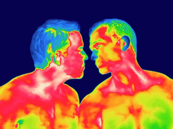 Infrared Radiation Photograph - Male Couple Kissing by Thierry Berrod, Mona Lisa Production