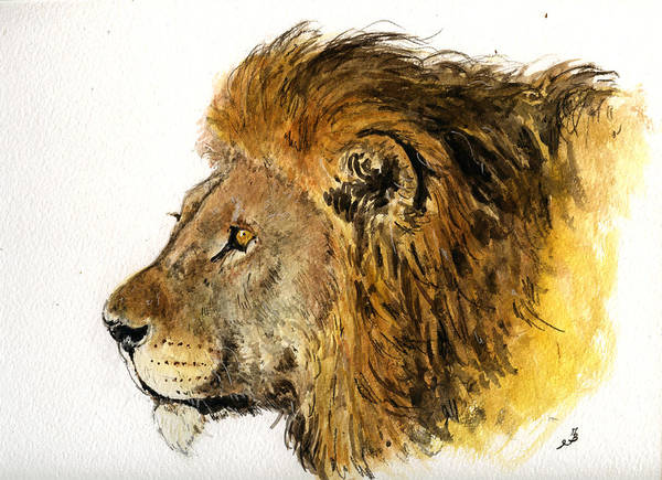 Heads Painting - Male Lion by Juan  Bosco