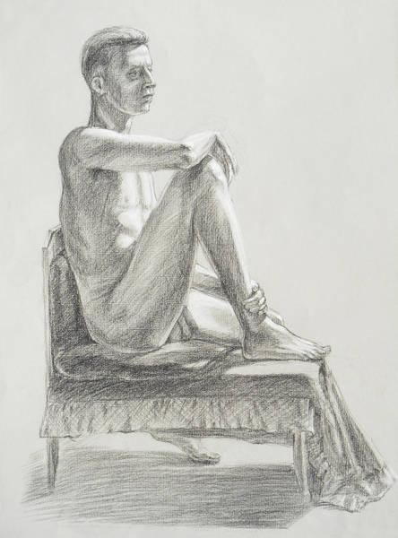 Wall Art - Drawing - Male Model Seated Charcoal Study by Irina Sztukowski