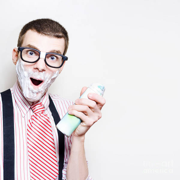 Photograph - Male Nerd With Sensitive Skin Having Morning Shave by Jorgo Photography - Wall Art Gallery