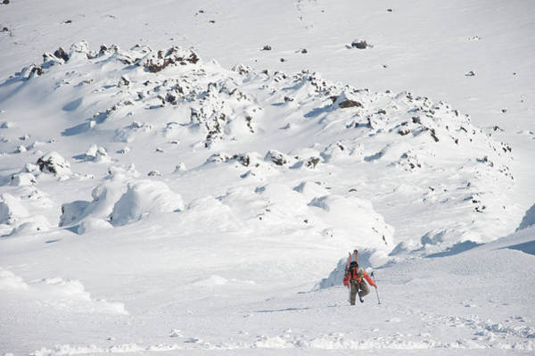 Gulf Of Alaska Photograph - Male Skier Ascends The Northeast Flanks by HagePhoto