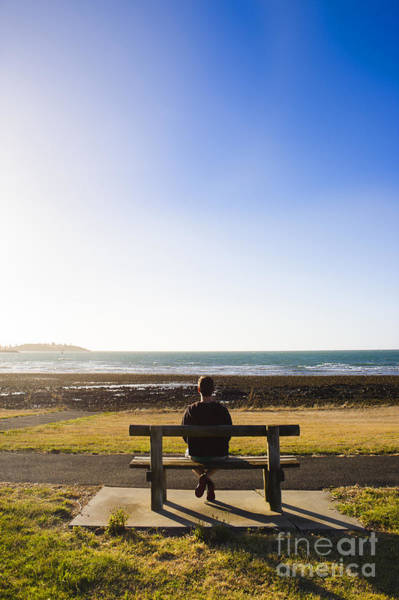 Devonport Wall Art - Photograph - Male Tourist Enjoying Ocean Landscape Sunset by Jorgo Photography - Wall Art Gallery