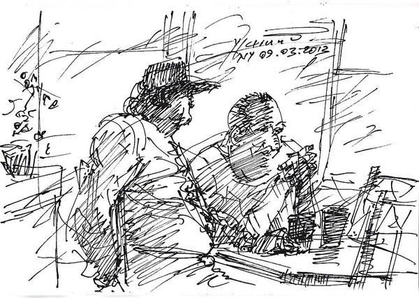 Wall Art - Drawing - Man At The Bar by Ylli Haruni