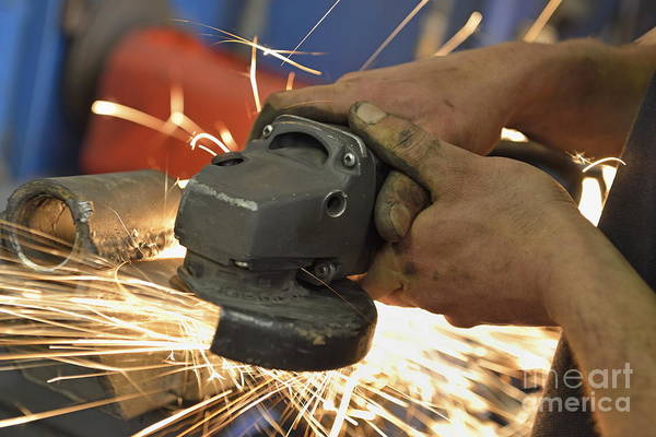 Wall Art - Photograph - Man Cutting Steel With Grinder by Sami Sarkis
