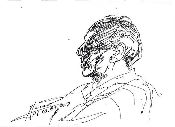 Heads Drawing - Man Head by Ylli Haruni