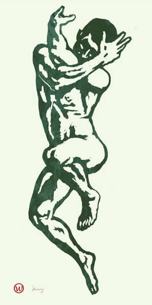 Reference Wall Art - Drawing - Man Nude Pop Stylised Etching Art Poster  by Kim Wang