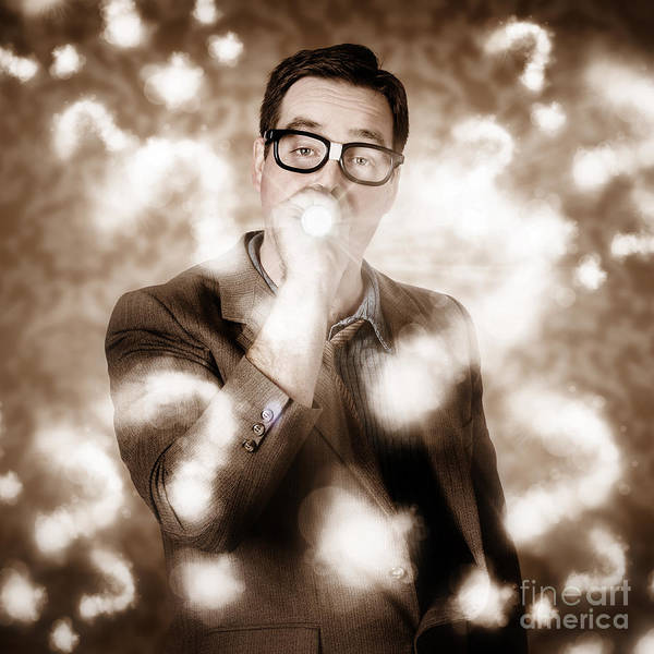 Financial Crisis Photograph - Man Problem Solving Question With Search Light by Jorgo Photography - Wall Art Gallery