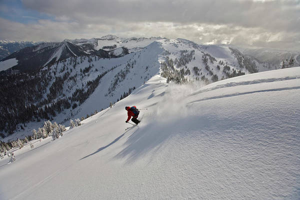 Wall Art - Photograph - Man Skiing, Valhalla Mountain Touring by Whit Richardson