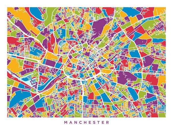 Greater Manchester Wall Art - Digital Art - Manchester England Street Map by Michael Tompsett