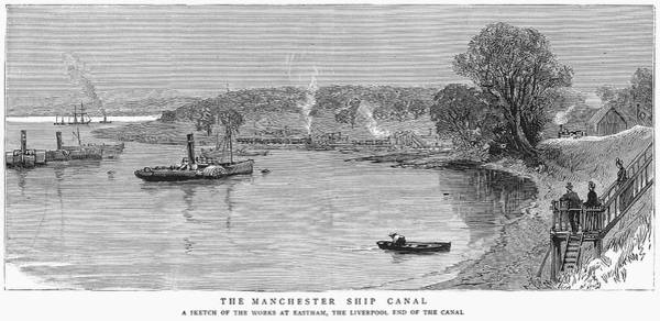 Wall Art - Painting - Manchester Ship Canal, 1887 by Granger