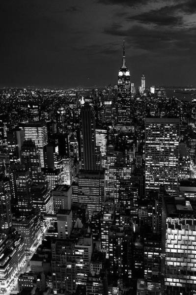 Manhattan Skyline At Night, New York Art Print