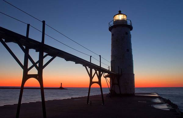 Manistee Photograph - Manistee Lighthouse At Sunset by Twenty Two North Photography