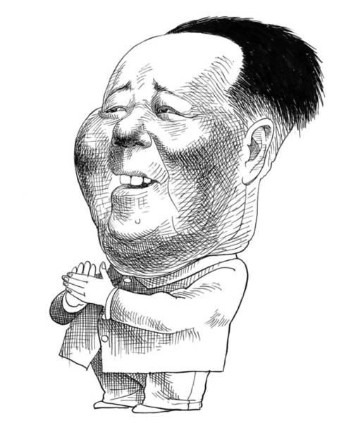 Drawing - Mao Tse-tung Caricature by Edmund Valtman