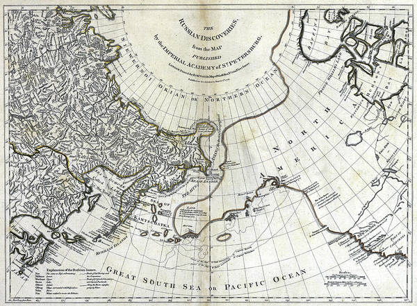 Wall Art - Painting - Map North Pacific by Granger