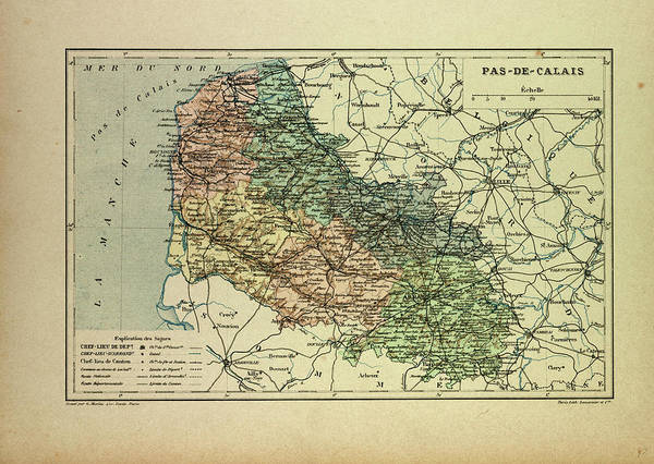 Wall Art - Drawing - Map Of Pas-de-calais France by French School