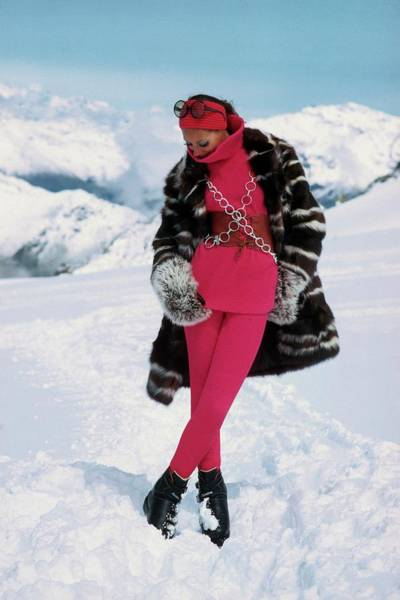 Snow Photograph - Marisa Berenson In The Snow by Arnaud de Rosnay