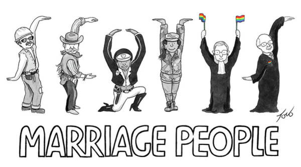 Wall Art - Drawing - Marriage People by Tom Toro