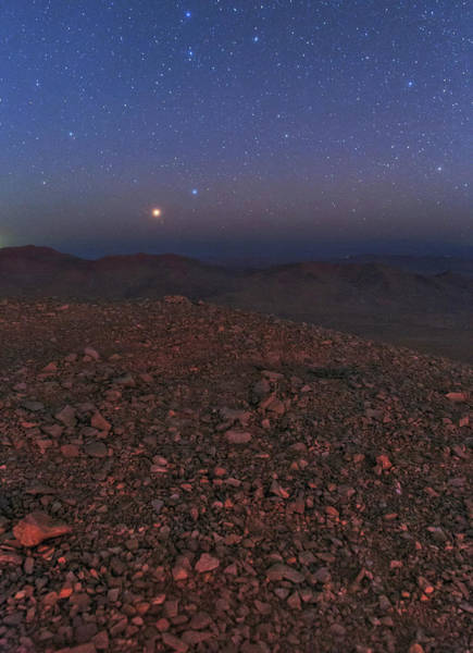 Astronomical Twilight Photograph - Mars In Opposition by Babak Tafreshi