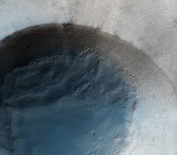 Volcanic Craters Photograph - Martian Crater by Nasa/jpl/university Of Arizona/science Photo Library