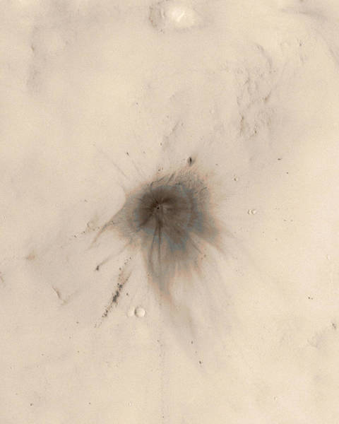 Recent Photograph - Martian Impact Crater by Nasa/jpl/msss/science Photo Library