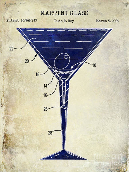 Cocktail Shaker Photograph - Martini Glass Patent Drawing Two Tone  by Jon Neidert