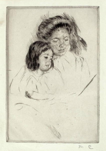 Wall Art - Drawing - Mary Cassatt, The Picture Book No. 1, American by Quint Lox