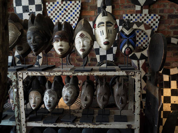 Johannesburg Wall Art - Photograph - Masks For Sale At Large Craft Store by Panoramic Images