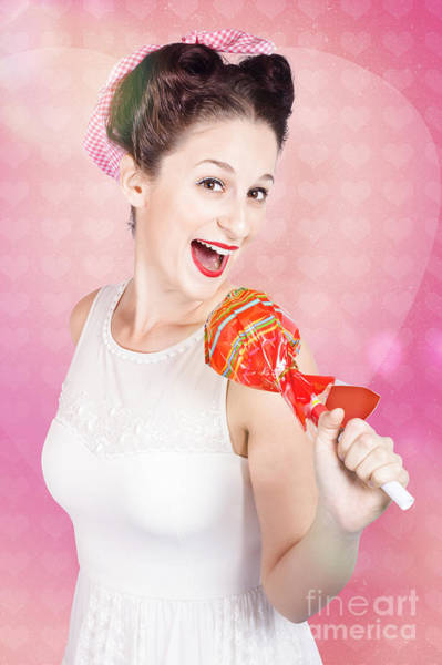 Karaoke Wall Art - Photograph - Mc Female Pin Up Singing With Lollipop Microphone by Jorgo Photography - Wall Art Gallery