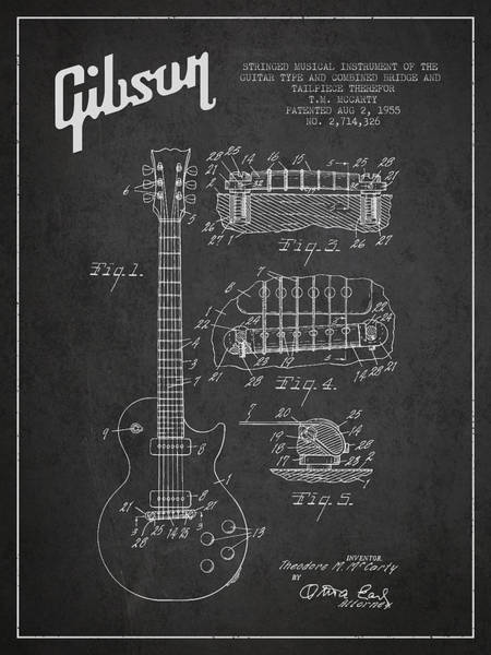 Grunge Music Wall Art - Digital Art - Mccarty Gibson Les Paul Guitar Patent Drawing From 1955 -  Dark by Aged Pixel