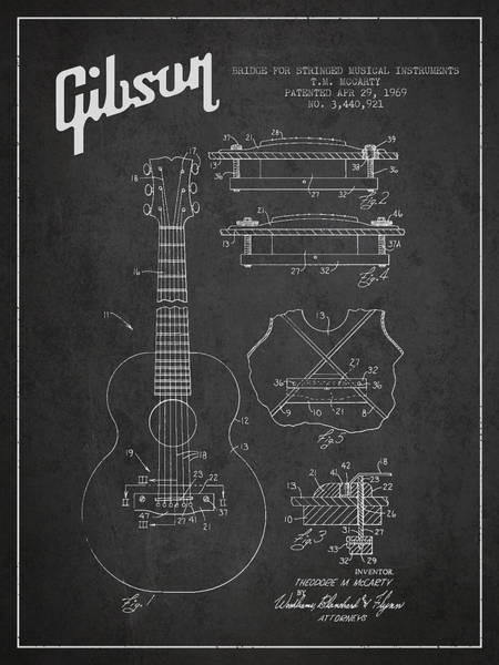 Wall Art - Digital Art - Mccarty Gibson Stringed Instrument Patent Drawing From 1969 - Dark by Aged Pixel