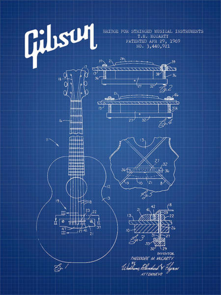 Electric Guitar Wall Art - Digital Art - Mccarty Gibson Stringed Instrument Patent Drawing From 1969 - Bl by Aged Pixel