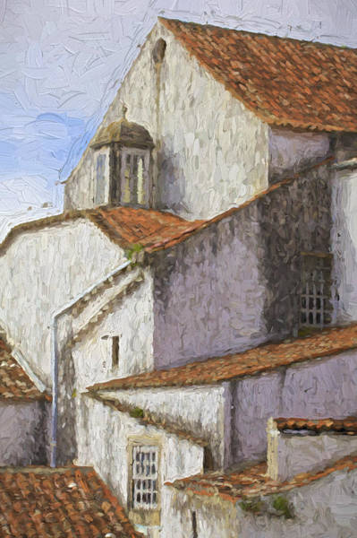 Terracotta Painting - Medieval Village Of Obidos by David Letts