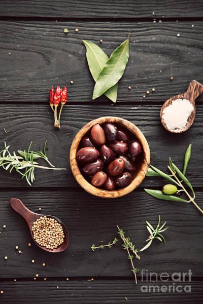Dark Olive Green Wall Art - Photograph - Mediterranean Ingredients by Mythja  Photography