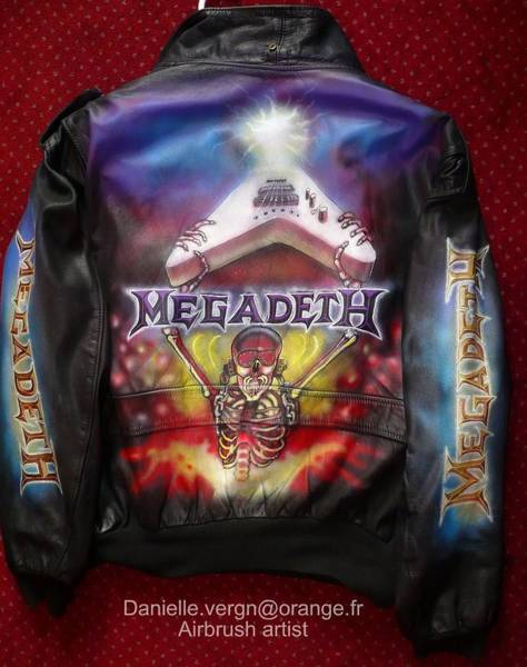 Megadeth Wall Art - Mixed Media - Megadeth Airbrushed Leather Jacket by Danielle Vergne