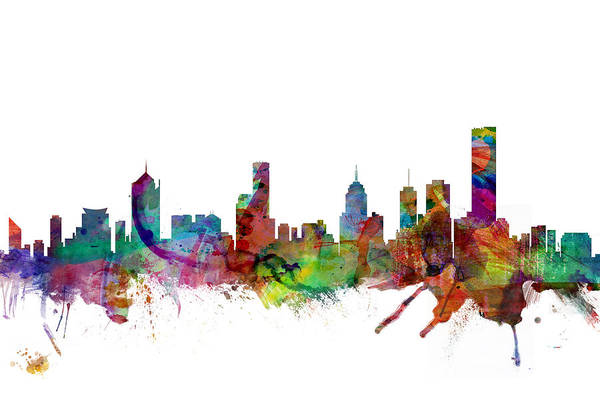 Flag Digital Art - Melbourne Skyline by Michael Tompsett