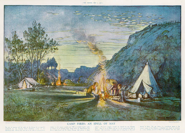 Twilight Drawing - Members Of A Camping Club,  Having by  Illustrated London News Ltd/Mar