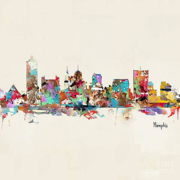 Office Decor Painting - Memphis Tennessee Skyline by Bri Buckley