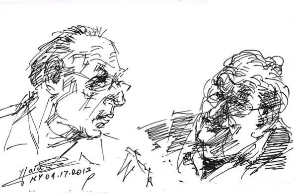 Wall Art - Drawing - Men Talking by Ylli Haruni