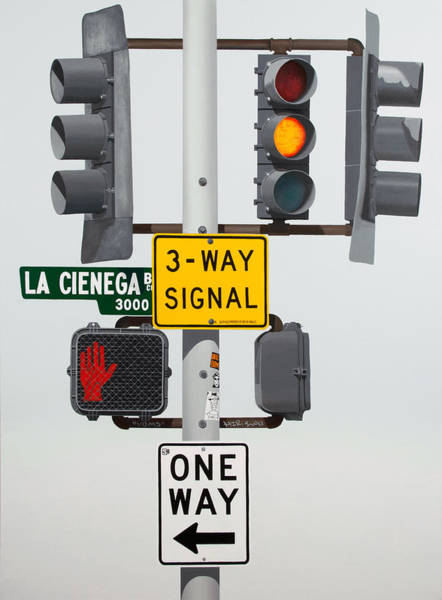 Traffic Signals Painting - Menage A Trois by Jennifer Walker
