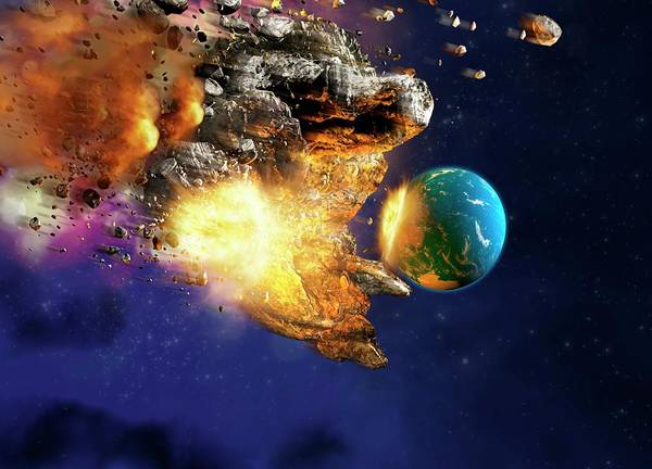 Wall Art - Photograph - Meteor Hitting Planet Earth by Victor Habbick Visions/science Photo Library