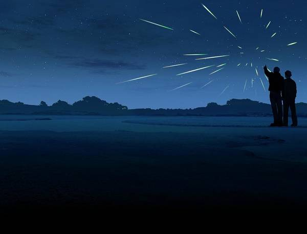 Dust Photograph - Meteor Shower by Mark Garlick/science Photo Library