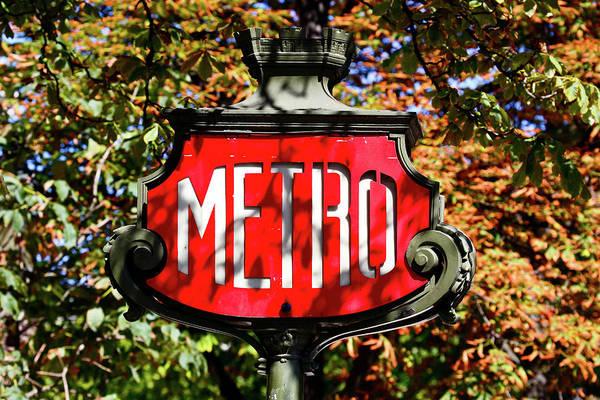Nouveau Photograph - Metro Sign, Paris, France by Panoramic Images